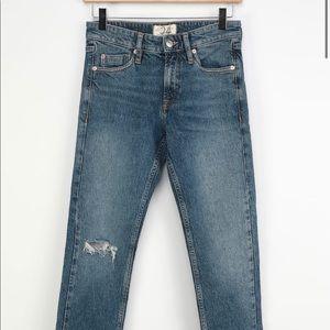 Cuffed Slim Boyfriend Medium Wash High Rise Jeans